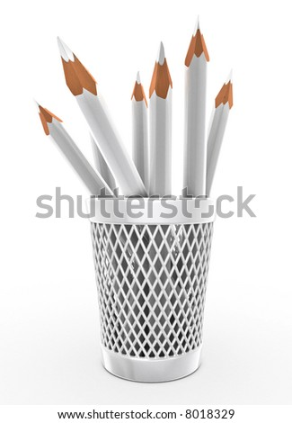 White pencils in the bucket isolated over white 3d illustration
