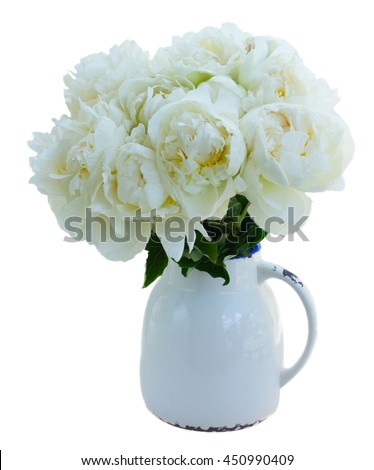 White peony flowers bouquet in vase isolated on white background - stock photo