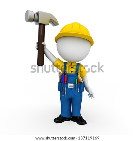 white people as plumber standing on the blank background