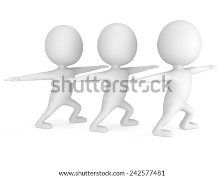 White people doing yoga exercise. 3d render isolated. Physical activity concept.