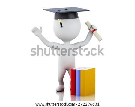 White people graduate with diploma, Graduation cap and books. Isolated white background. 3d renderer illustration.  - stock photo