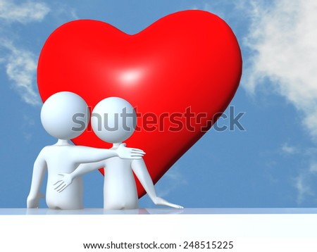 white people in love hugging facing a red heart on the sky - valentines day - love romance - 14 february - stock photo