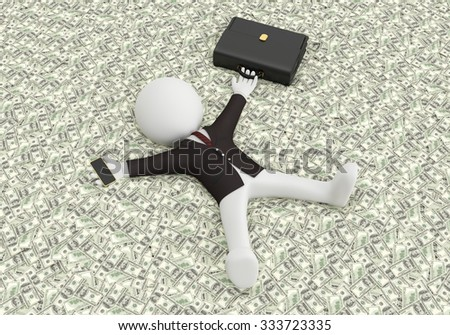White people lying on the money. 3d image - stock photo