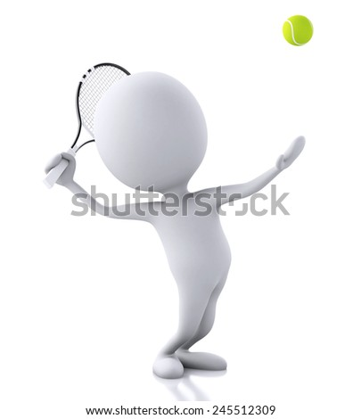 white people with tennis racket and ball. Isolated white background. 3d renderer image. - stock photo