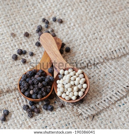 White pepper and black pepper in wooden spoon. - stock photo