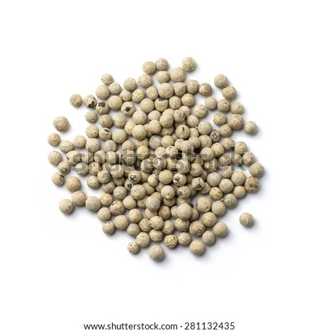 White Peppercorn isolated on white background  - stock photo