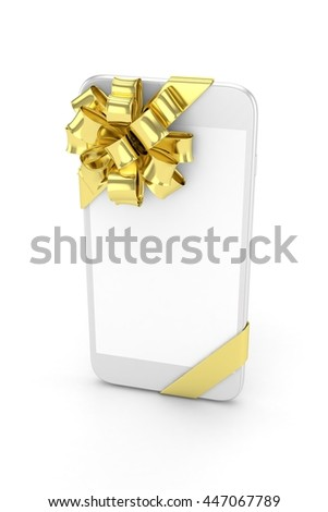 White phone with golden bow and empty screen. 3D rendering.