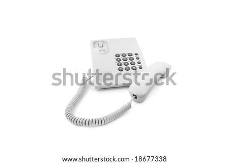 White phone with the taken off tube isolated
