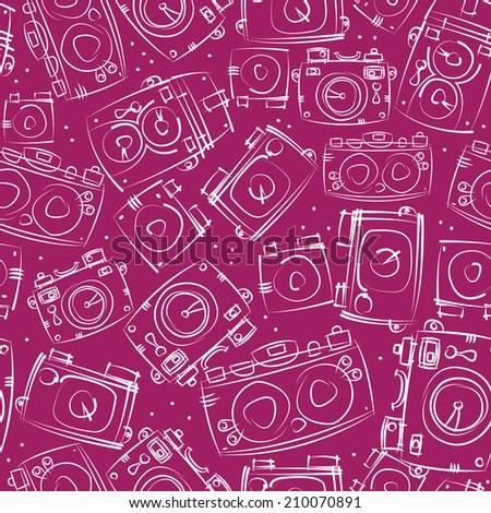 white photo cameras seamless pattern - stock photo