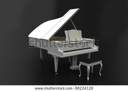 White piano on dark background - stock photo
