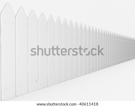 white picket fence - stock photo