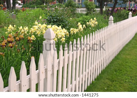 White picket fence along side a perennial flower garden.