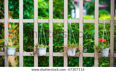 White picket fence and green plants at country house. - stock photo