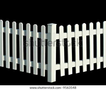 White picket fence isolated on black