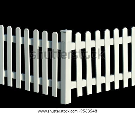 White picket fence isolated on black - stock photo
