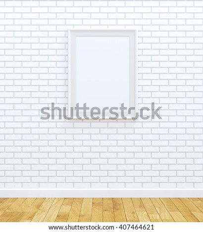White picture frame over white brick wall  (3D rendered image) - stock photo
