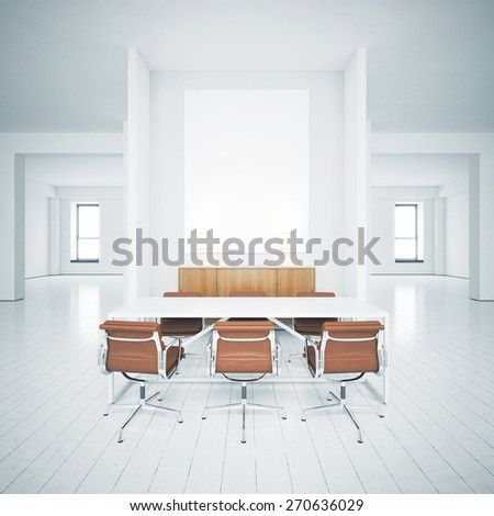 White picture in the interior. 3D rendering - stock photo