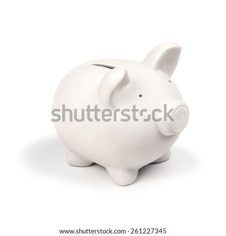 white pig money box isolated - stock photo