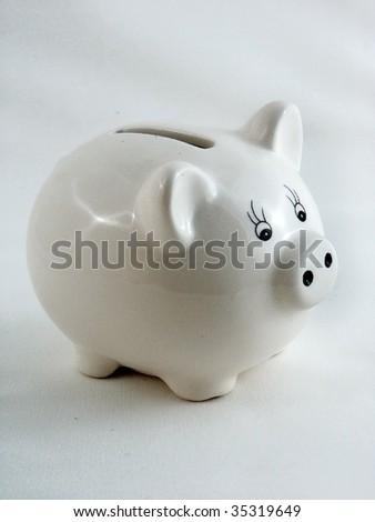 White piggy bank - stock photo