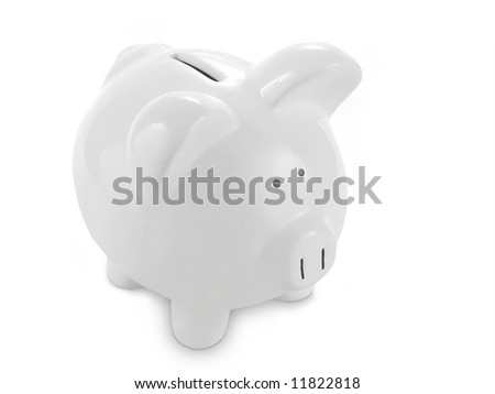 White piggy bank against a white background with clipping path. - stock photo