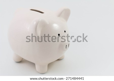 White piggy bank isolated on a white background