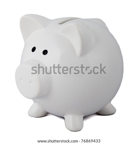White piggy bank on white background. - stock photo