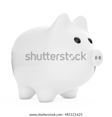 White Piggy bank style money box on a white background. 3d Rendering