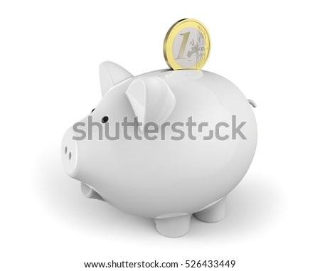White piggy bank with one Euro coin partially inserted into the slot on white background 3D rendering
