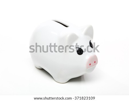 White piggy bank with pink snout isolated on white background.
