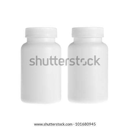 white pill bottle on white background - stock photo