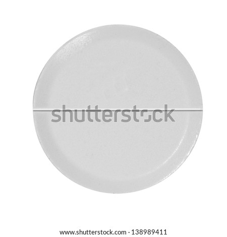 White pill close up isolated on white background