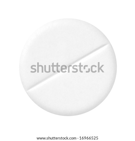 White pill on a white background (isolated with path). - stock photo