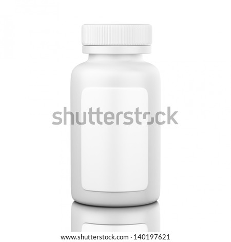 White Pillbox with label isolated on white background