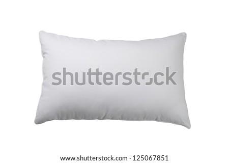white pillow isolated on white background - stock photo