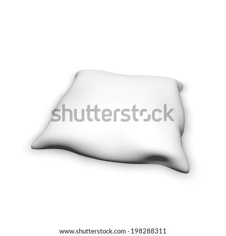 white pillow isolated on white illustration - stock photo
