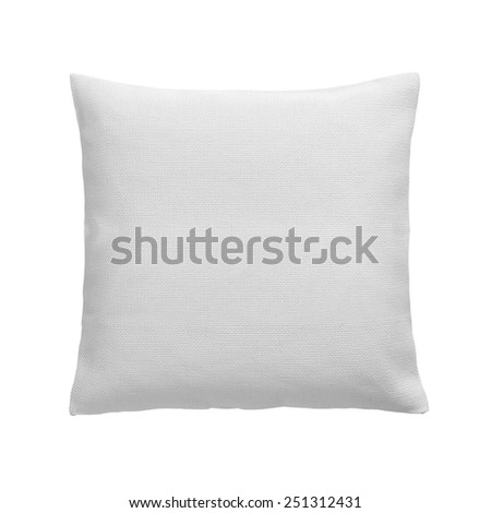 White Pillow top view isolated on white background - stock photo