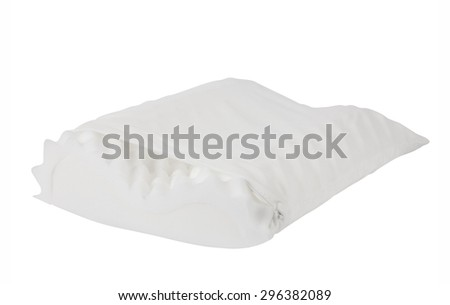white pillow with foam texture isolated on white background