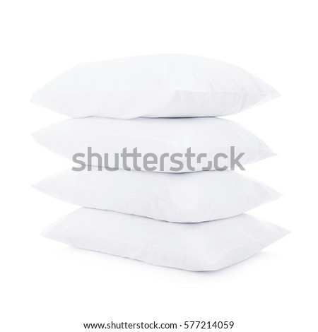 white pillows isolated on white background clipping path