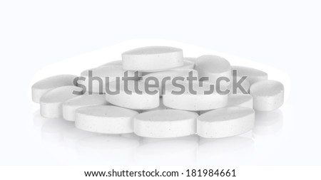 white pills, isolated on white