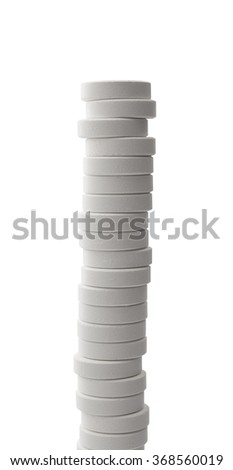 white pills stack , isolated on white , clipping path - stock photo