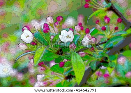 White-pink flowers blooming shrub springtime. Natural background for background and text. Blooming spring tree branch background. - stock photo