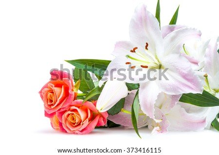 White-pink lilies and three red-orange roses isolated on white background - stock photo