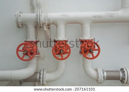 White pipeline with valve. - stock photo