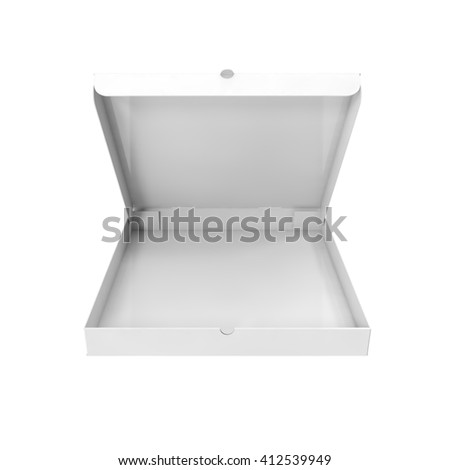 White pizza box isolated on white background. 3D illustration