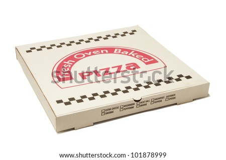 White pizza delivery box isolated against white background - stock photo