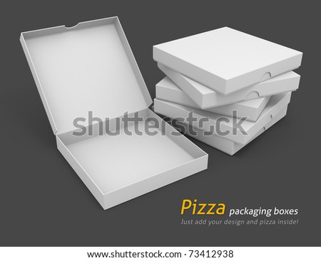 white pizza packaging boxes with blank cover for design 3d illustration isolated on grey background - stock photo