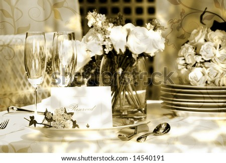 White place card on outdoor wedding table/ Vintage look - stock photo