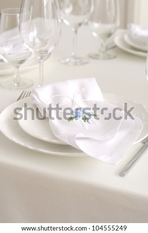 white place setting - stock photo