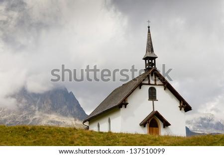 white plain mountain chapel at Belalp near Aletsch glacier, Valais, Switzerland - stock photo