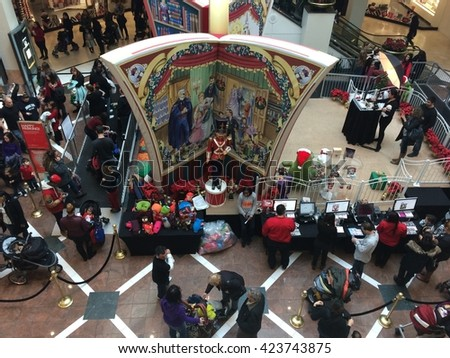 WHITE PLAINS, NY - DEC 14: Christmas decor at the Westchester Mall in White Plains, New York, as seen on Dec 14, 2014. The mall is home to some of today's most fashionable and well-known retailers. - stock photo